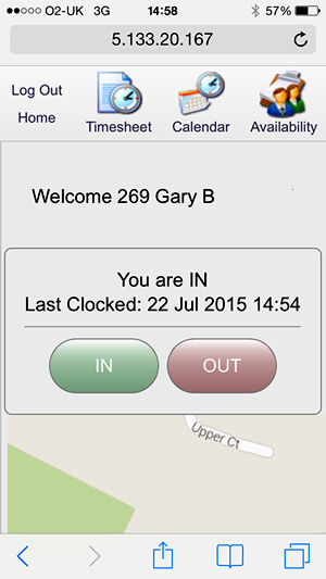 Geolocation (GPS) clocking in with the Focus time & Attendance system