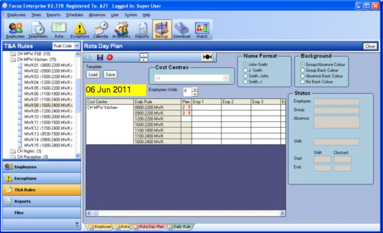 Use Day Plans to manage specific types of shift or rota